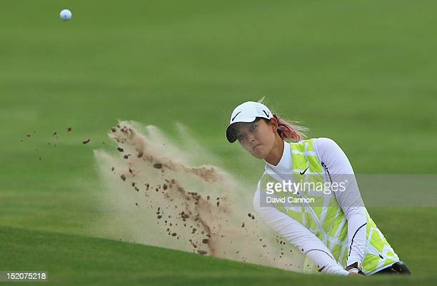 Michelle Wie of the United States hits her 3rd shot on the 18th hole during the third round of the Ricoh Women's British Open at Royal Liverpool Golf...