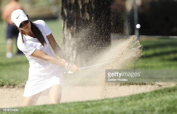 Michelle Wie of the United States hits out of the bunker during practice ahead of the ISPS Handa Australian Open at Royal Canberra Golf Club on...