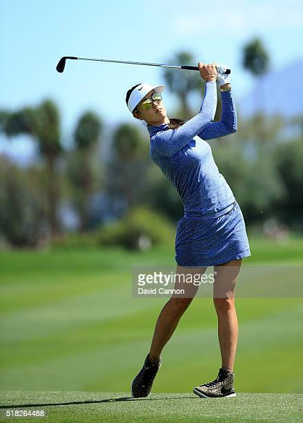 Michelle Wie of the United States in action during the proam as a preview for the 2016 ANA Inspiration Championship at the Mission Hills Country Club...