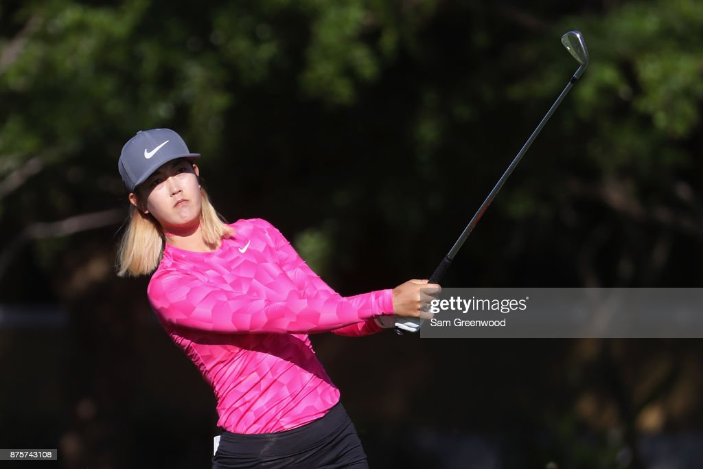 Michelle Wie of the United States plays a shot on the first hole during round three of the CME Group Tour Championship at the Tiburon Golf Club on November 18, 2017 in Naples, Florida.