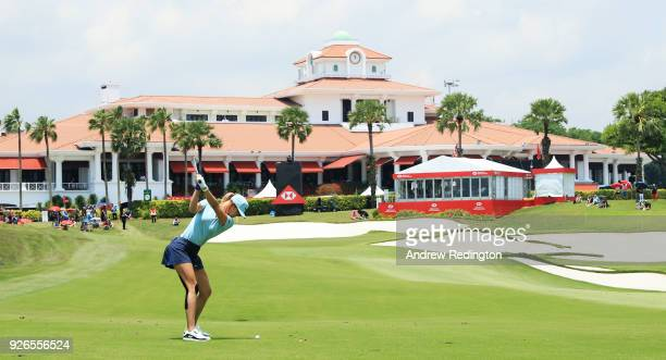 Michelle Wie of the United States plays her second shot on the 18th hole during round three of the HSBC Women's World Championship at Sentosa Golf...