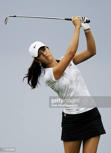 Michelle Wie of the United States plays her second shot on the 5th hole during the third round of the Evian Masters on July 28 2006 in Evian France
