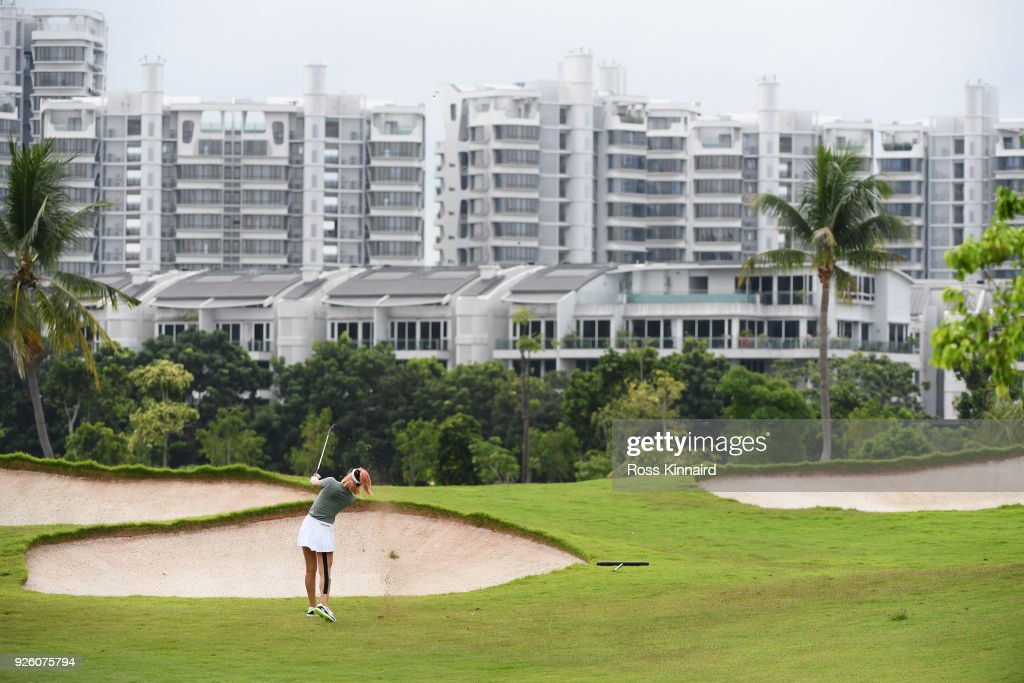 Michelle Wie of the United States plays her second shot on the second hole during round two of the HSBC Women's World Championship at Sentosa Golf Club on March 2, 2018 in Singapore.