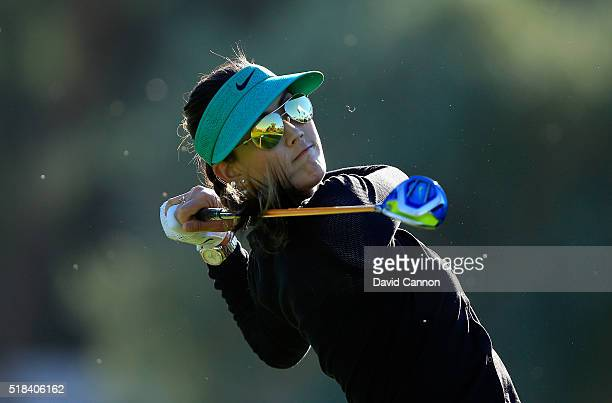 Michelle Wie of the United States plays her tee shot at the par 4 third hole during the first round of the 2016 ANA Inspiration at Mission Hills...