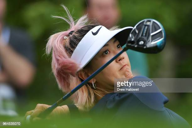 Michelle Wie of the United States plays her tee shot on the 14th hole during the first round of the 2018 US Women's Open at Shoal Creek on May 31...