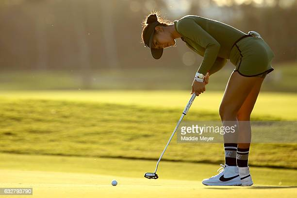 Michelle Wie of the United States putts on the seventh green during round one of the Pure Silk Bahamas LPGA Classic on January 26 2017 in Paradise...