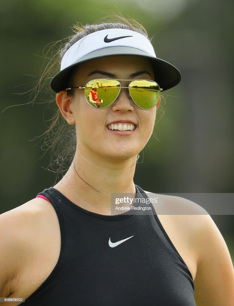 Michelle Wie of the United States smiles on the fifth hole during the first round of the HSBC Women's Champions on the Tanjong Course at Sentosa Golf Club on March 2, 2017 in Singapore.