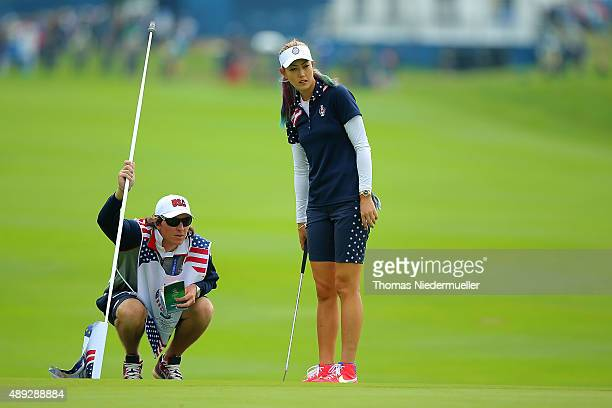 Michelle Wie of the United States Team looks on at the first green during the Sundays single matches in the 2015 Solheim Cup at St LeonRot Golf Club...