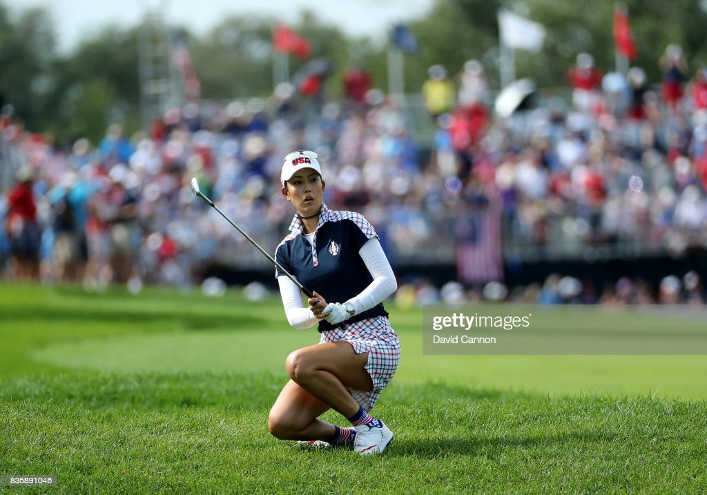 Michelle Wie of the United States team reacts to her second shot on the first hole in her match against Caroline Masson of the European team during the final day singles matches in the 2017 Solheim Cup at the Des Moines Golf Country Club on August 20, 2017 in West Des Moines, Iowa.