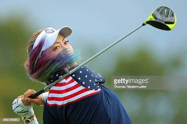 Michelle Wie of the United States Team takes a shot at the 2nd tee during the Sundays single matches in the 2015 Solheim Cup at St LeonRot Golf Club...