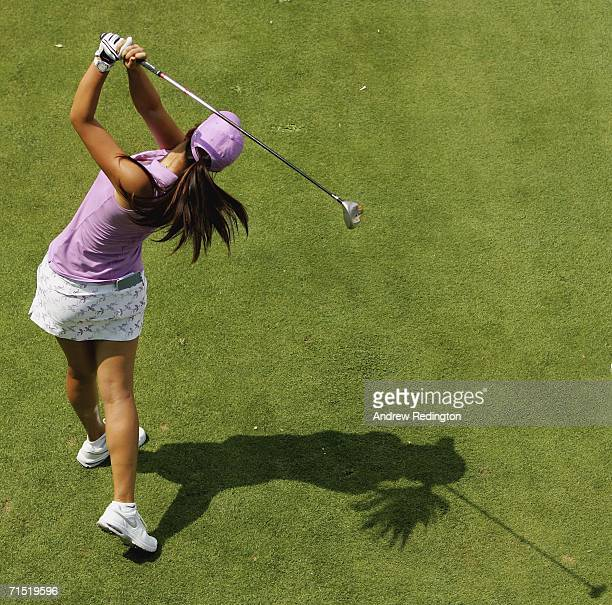 Michelle Wie of the United States tees off on the sixth hole during the first round of the Evian Masters on July 26 2006 in Evian France