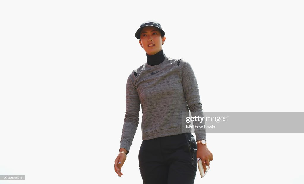 Michelle Wie of the United States walks off the 18th green during the first round of the Ricoh Women's British Open at Kingsbarns Golf Links at Kingsbarns Golf Links on August 3, 2017 in Kingsbarns, Scotland.