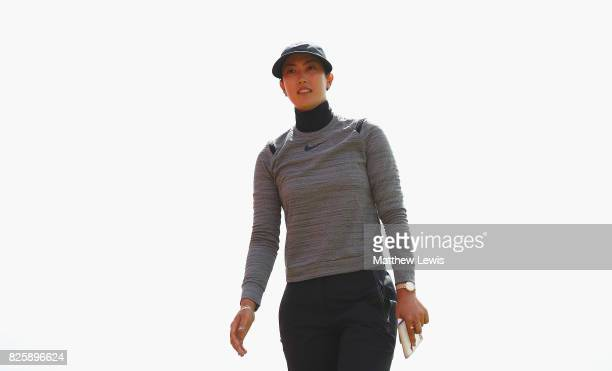 Michelle Wie of the United States walks off the 18th green during the first round of the Ricoh Women's British Open at Kingsbarns Golf Links at...