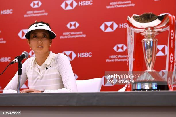 Michelle Wie of the US attends a press conference ahead of the HSBC Women's World Championship 2019 at Sentosa Golf Club in Singapore on February 26...