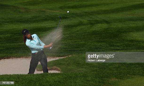 Michelle Wie of the U.S. Makes a shot out of the bunker on the third hole during the first round of the LPGA CN Canadian Women's Open 2007 at the...