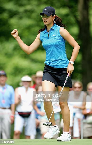Michelle Wie of the USA celebrates her birdie on the 15th hole during the second round of the HSBC Women's World Match Play Championship at Hamilton...