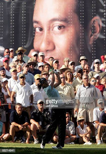 Michelle Wie of the USA hits a tee shot on the seventh hole during the second round of the John Deere Classic on July 8 2005 at TPC at Deere Run in...