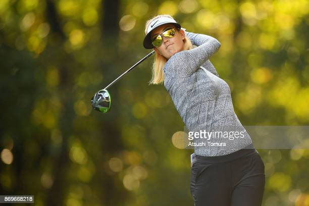 Michelle Wie of the USA hits her tee shot on the 2nd hole during the first round of the TOTO Japan Classics 2017 at the Taiheiyo Club Minori Course...