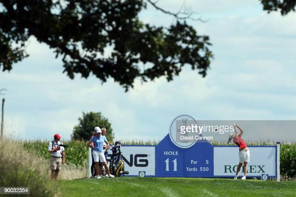 Michelle Wie of the USA on the 11th tee during the Sunday singles matches at the 2009 Solheim Cup Matches at the Rich Harvest Farms Golf Club on...