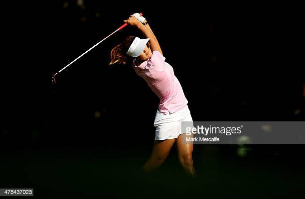 Michelle Wie of the USA plays her second shot on the 12th hole during the second round of the HSBC Women's Champions at the Sentosa Golf Club on...