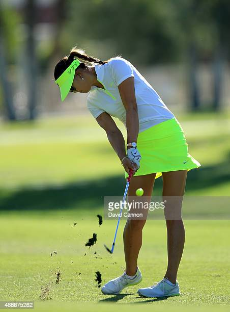 Michelle Wie of the USA plays her second shot on the par 4 first hole during the final round of the ANA Inspiration on the Dinah Shore Tournament...