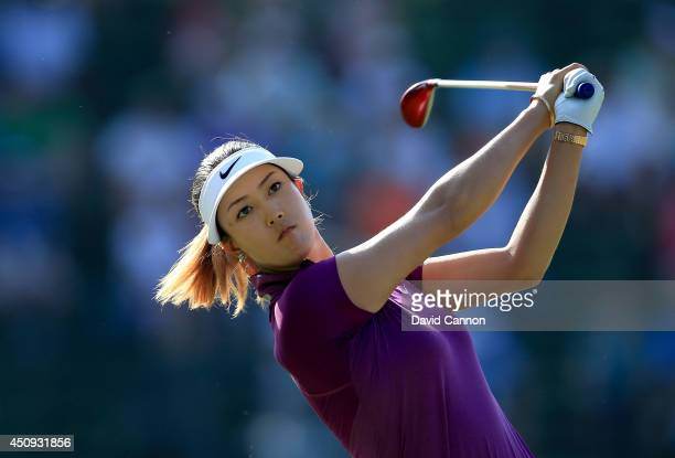 Michelle Wie of the USA plays her tee shot at the par 4 13th hole during the second round of the 69th US Women's Open at Pinehurst Resort Country...