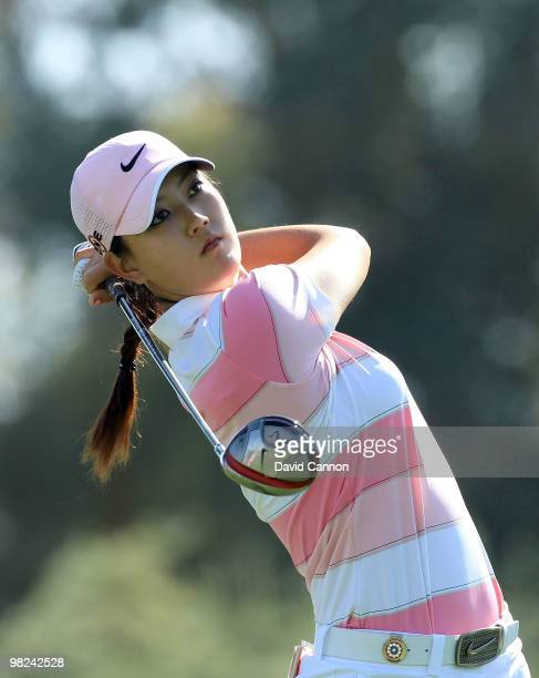 Michelle Wie of the USA plays her tee shot on the third hole during the final round of the 2010 Kraft Nabisco Championship on the Dinah Shore Course...