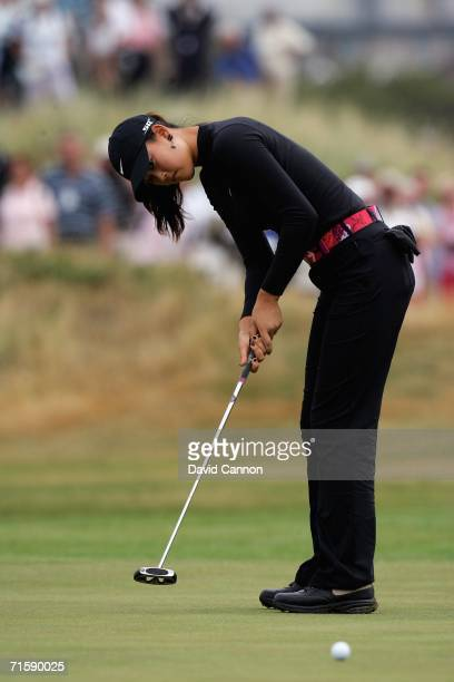 Michelle Wie of the USA putts for a birdie 3, at the par 4, 4th hole during the third round of the 2006 Weetabix Women's British Open, at Royal...