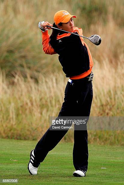 Michelle Wie of the USA tees off at the third hole during the second round of the Weetabix Ladies British Open at the Royal Birkdale Golf Club on...