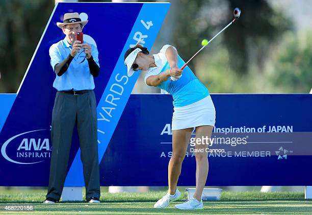 Michelle Wie of the USA under the close eye of her coach David Leadbetter during a practice round for the ANA Inspiration on the Dinah Shore...