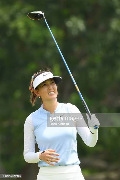Michelle Wie of United States plays her shot from the 14th tee during the first round of the HSBC Women's World Championship at Sentosa Golf Club on...