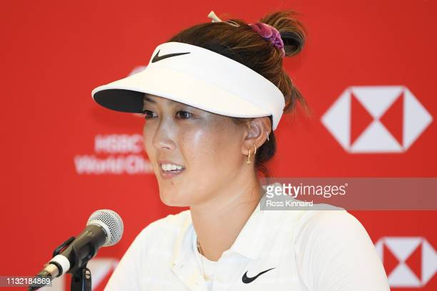 Michelle Wie of United States speaks to the media during a press conference prior to the HSBC Women's World Championship at Sentosa Golf Club on...