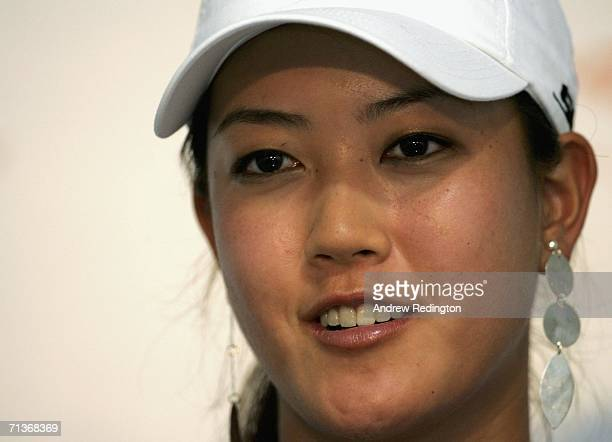 Michelle Wie of USA attends a press conference after practice for The HSBC Women's World Match Play Championship on The Highlands Course at Hamilton...
