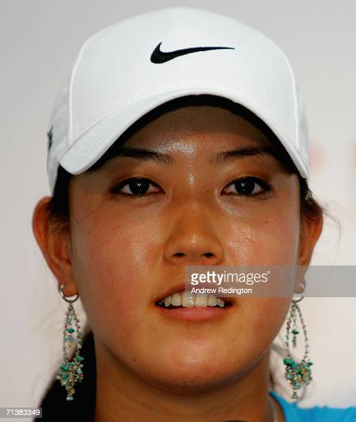 Michelle Wie of USA attends a press conference after winning her first round match at the HSBC Women's World Match Play Championship at Hamilton Farm...