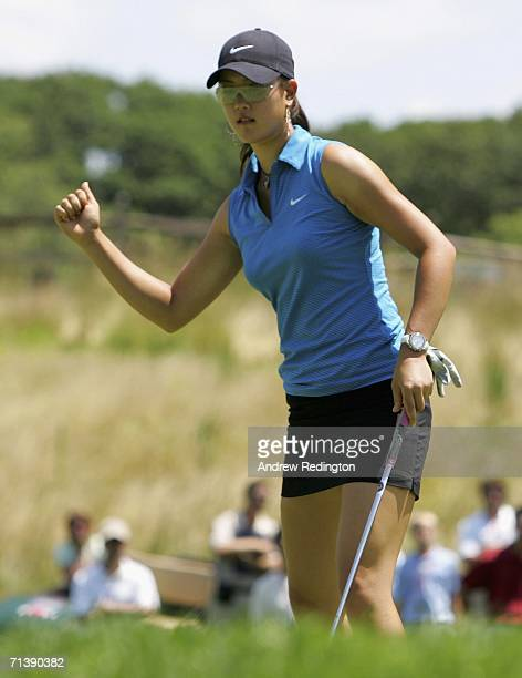 Michelle Wie of USA celebrates her birdie on the sixth hole during the second round of the HSBC Women's World Match Play Championship at Hamilton...