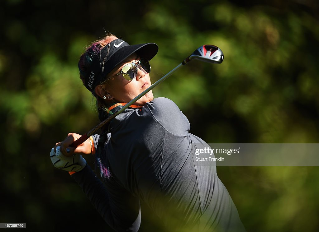Michelle Wie of USA plays a shot during practice prior to the start of the Evian Championship Golf on September 9, 2015 in Evian-les-Bains, France.