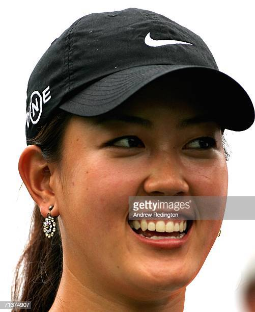 Michelle Wie of USA smiles during the ProAm for The HSBC Women's World Match Play Championship on The Highlands Course at Hamilton Farm Golf Club on...