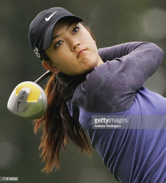 Michelle Wie of USA tees off on the 14th hole during the second round of the Omega European Masters at Crans-Sur-Sierre Golf Club on September 8,...