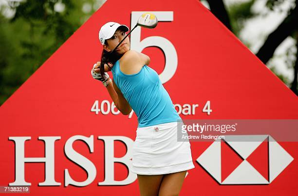 Michelle Wie of USA tees off on the fifth hole during the first round of the HSBC Women's World Match Play Championship at Hamilton Farm Golf Club on...