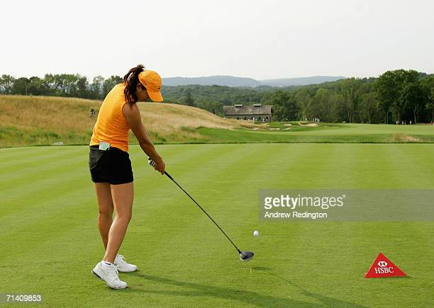 Michelle Wie of USA tees off on the sixth hole during the third round of the HSBC Women's World Match Play Championship on July 8 2006 at Hamilton...