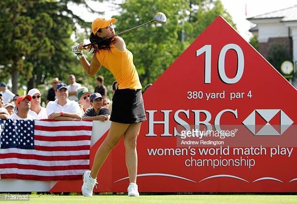 Michelle Wie of USA tees off on the tenth hole during the third round of the HSBC Women's World Match Play Championship on July 8 2006 at Hamilton...