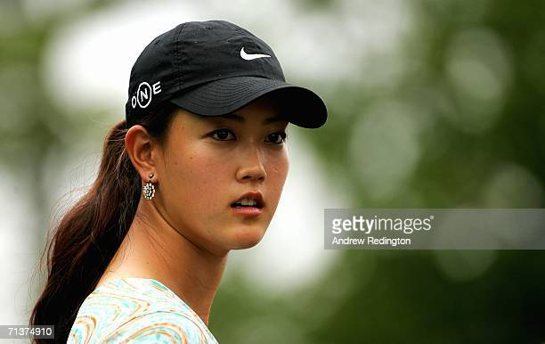 Michelle Wie of USA waits during the ProAm for The HSBC Women's World Match Play Championship on The Highlands Course at Hamilton Farm Golf Club on...
