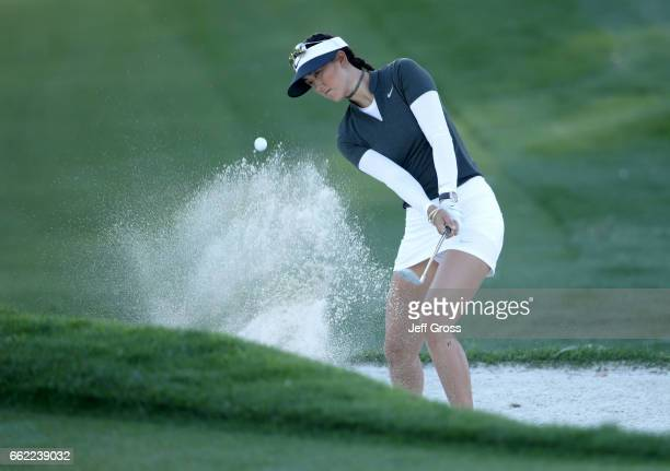 Michelle Wie plays a bunker shot to the 12th green during the second round of the ANA Inspiration at the Dinah Shore Tournament Course at Mission...