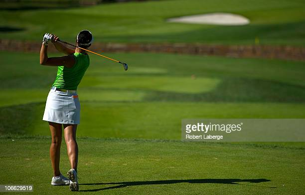 Michelle Wie plays a shot during the second round of the PG NW Arkansas Championship at the Pinnacle Country Club on September 11 2010 in Rogers...