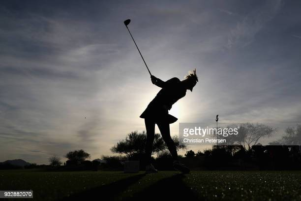 Michelle Wie plays a tee shot on the 10th hole during the second round of the Bank Of Hope Founders Cup at Wildfire Golf Club on March 16 2018 in...