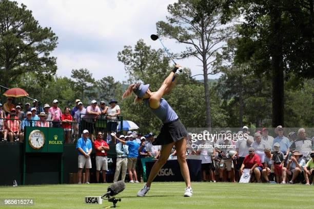 Michelle Wie plays a tee shot on the first hole during the second round of the 2018 US Women's Open at Shoal Creek on June 1 2018 in Shoal Creek...