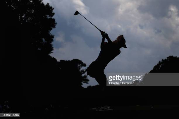 Michelle Wie plays a tee shot on the third hole during the second round of the 2018 US Women's Open at Shoal Creek on June 1 2018 in Shoal Creek...