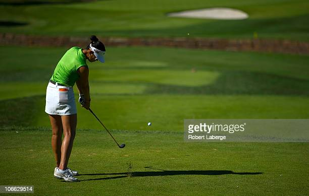 Michelle Wie plays during the second round of the PG NW Arkansas Championship at the Pinnacle Country Club on September 11 2010 in Rogers Arkansas