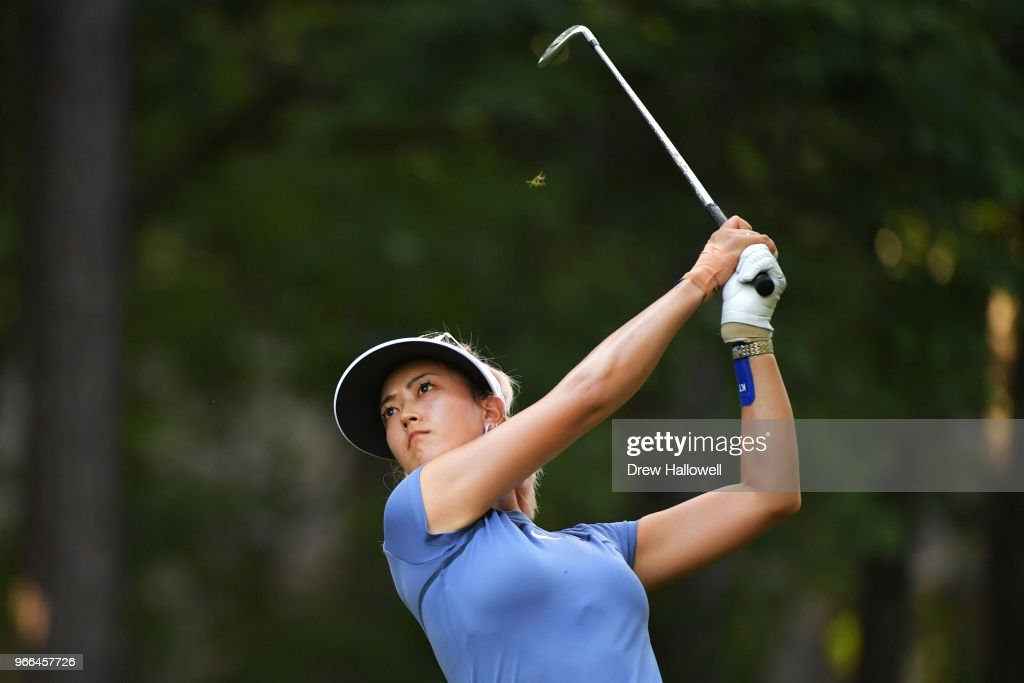 Michelle Wie plays her tee shot on the 13th hole during the third round of the 2018 U.S. Women's Open at Shoal Creek on June 2, 2018 in Shoal Creek, Alabama.