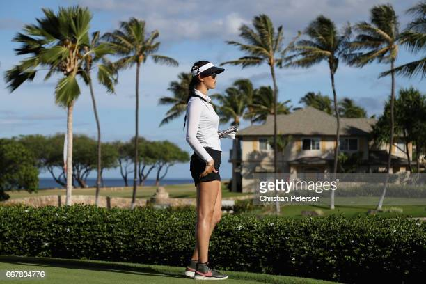 Michelle Wie prepares to tee off on the 12th hole during the first round of the LPGA LOTTE Championship Presented By Hershey at Ko Olina Golf Club on...